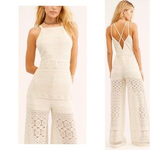Free People Moons Bay Crochet One-Piece Jumpsuit